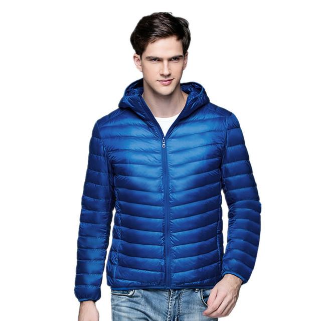 2018 New Arrive White Duck Down Jacket Men Autumn Winter Warm Coat Men's Light Thin Duck Down Jacket Coats Male Hooded Jacket