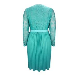 Image 3 - Plus Size Dresses for Women 4xl 5xl 6xl Spring Autumn Boho Vintage Lace Pleated Chiffon Party Dress Female Large Size Dress H162