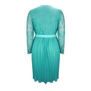 Image 3 - Plus Size Jurken Voor Vrouwen 4xl 5xl 6xl Lente Herfst Boho Vintage Kant Geplooid Chiffon Feestjurk Vrouwelijke Grote Maat jurk H162