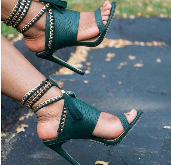 Sestito Femme rouge Noir Chaussures Dames Slingback Chaînes Femmes Pour as Charme Sangle 2019 kaki Haute Talons Gland Sexy Cheville Dentelle Sandales Pictures up rqr1zUZO