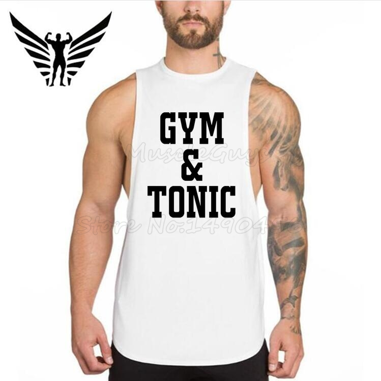 Muscleguys Brand Mens Tank Tops Bodybuilding Clothes fitness Sleeveless Shirt Dropped Armhole Drop Hem Gyms Clothing