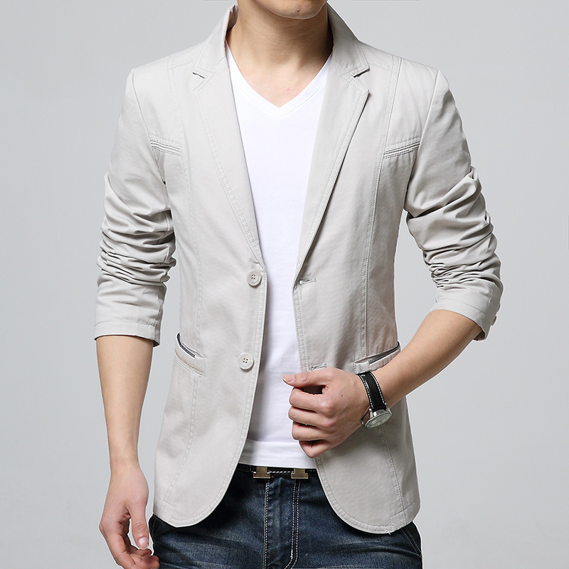 2019 The New Men's Cultivate One's Morality Cotton Suit Young Fashionable Pure Color Suit