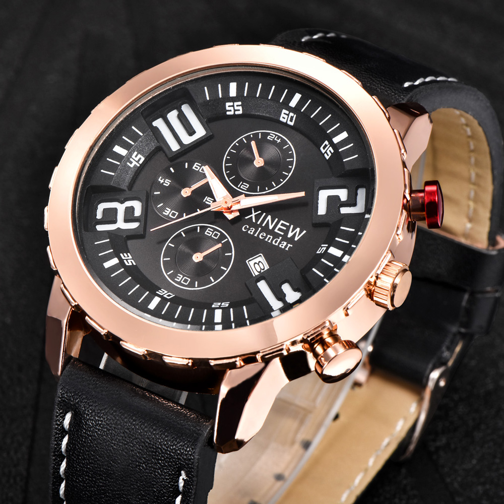 Wholesale Cheap Watches Mens Leather Date Quartz Wristwatches Men Stainless Steel Back Roes Gold Watch Montres de Marque de Luxe цена и фото