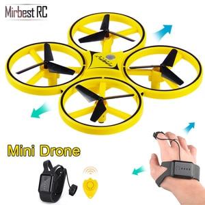 Image 1 - Novo mini drone pulseira controle infravermelho desvio de obstáculos mão controle altitude hold 2.4g quadcopter para crianças brinquedo presente zf04
