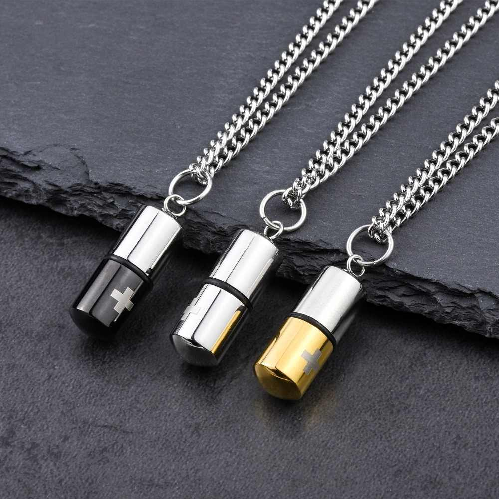 Mens Stainless Steel Hip Hop Jewelry Bling Gold Pill Necklace Can Open Capsules Pendant Copper Chains Iced Out Women Unisex