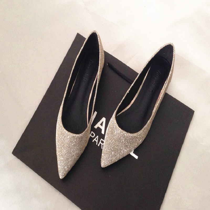 2018 spring new silver flat shallow casual shoes with flat shoes with sexy shoes large size shoes female