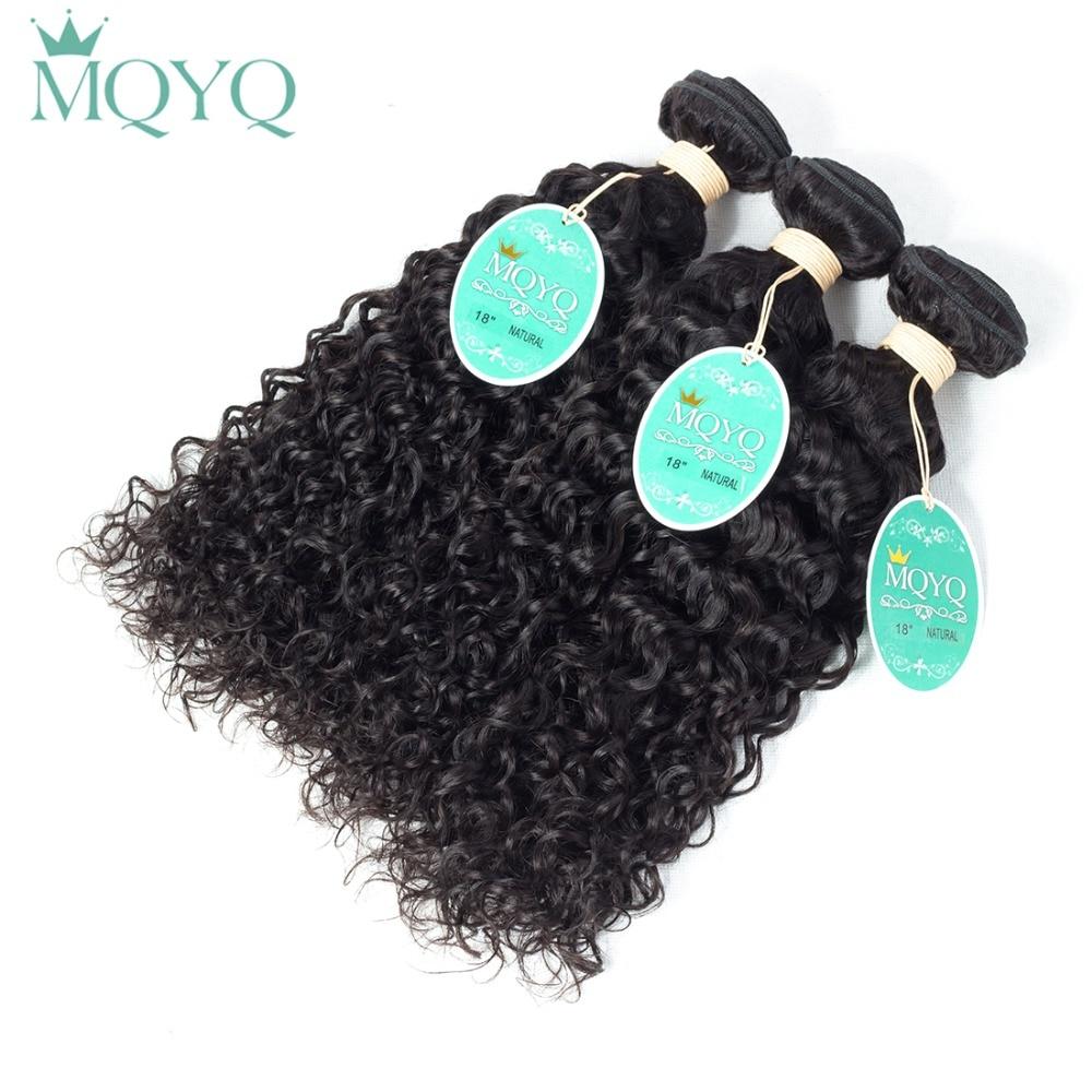 MQYQ Mongolian Curly Hair Extension 3pcs 100% Human Hair Weave Bundles Natural Black Color Water Wave Curly Hair Weaving