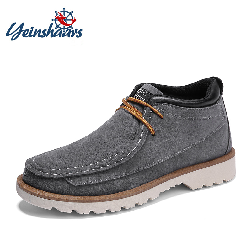 Men's Boots Loyal Yeinshaars Cow Suede Walking Work Boots For Men Male Shoes Adult 2019 Casual Ankle Boots Fashion Brand Quality Footwear To Enjoy High Reputation At Home And Abroad