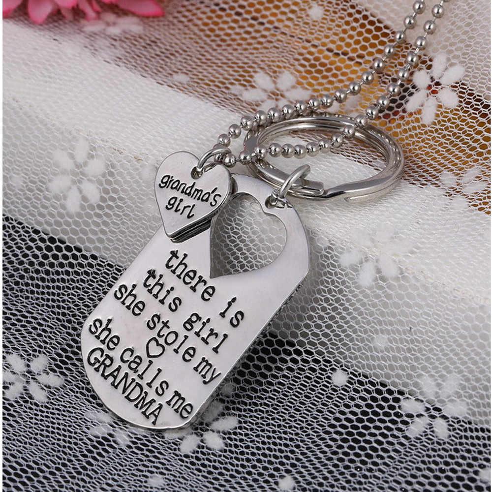Elegante Hot Carta Colar de Coração Chave Chaveiro Anéis Jóias Colar Filha Papai Pai Pai Meninas Presente Pendientes Ornamentos