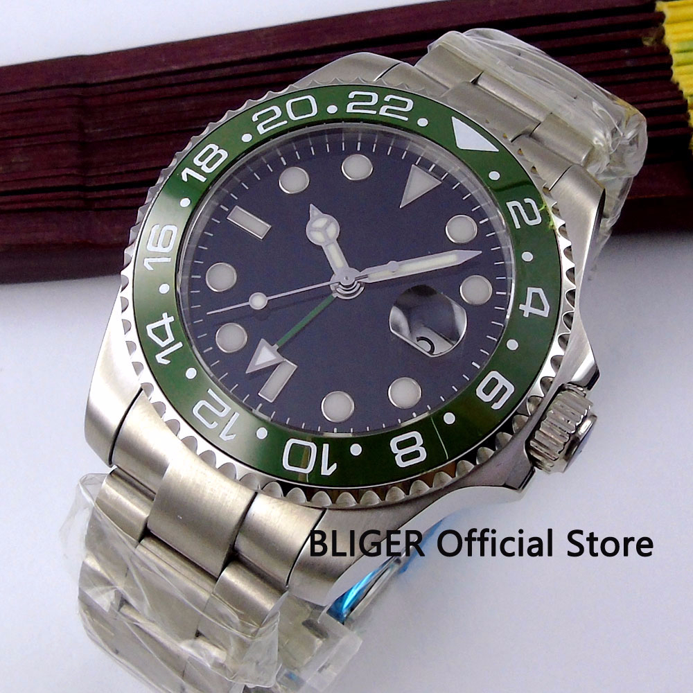 BLIGER 40mm Black Sterile Dial Green Ceramic Bezel Luminous Marks Stainless Steel Band GMT Automatic Movement Mens Watch B318BLIGER 40mm Black Sterile Dial Green Ceramic Bezel Luminous Marks Stainless Steel Band GMT Automatic Movement Mens Watch B318