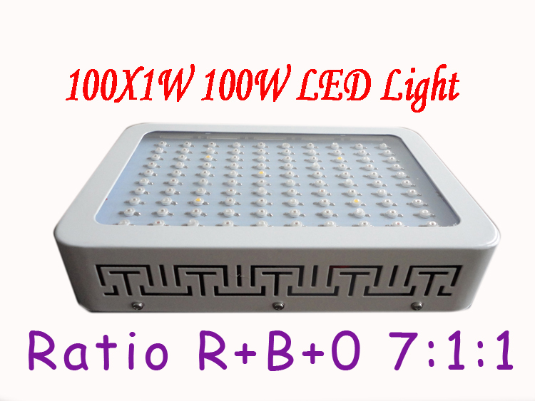 new 1x 100W LED Grow Light 100*1W Dropshipping Hot selling Red blue orange 7:1:1 Indoor Hydroponic System Plant Ufo HOT!