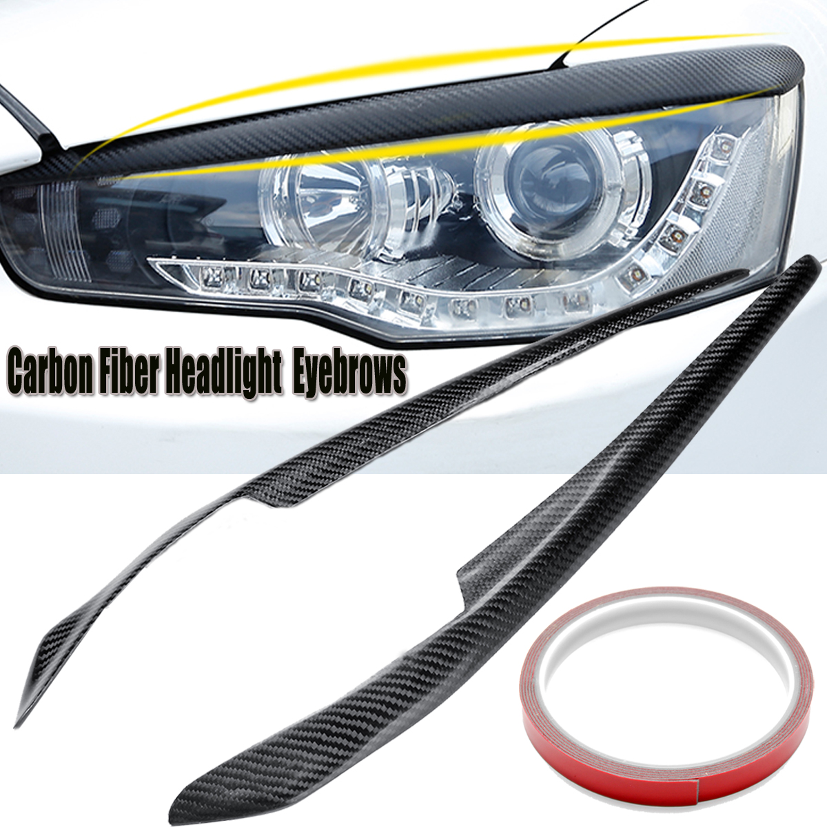 2pcs Car Headlight Eyelids Eyebrows Carbon Fiber Pattern for Mitsubishi Lancer EVO X 10 2008 2014