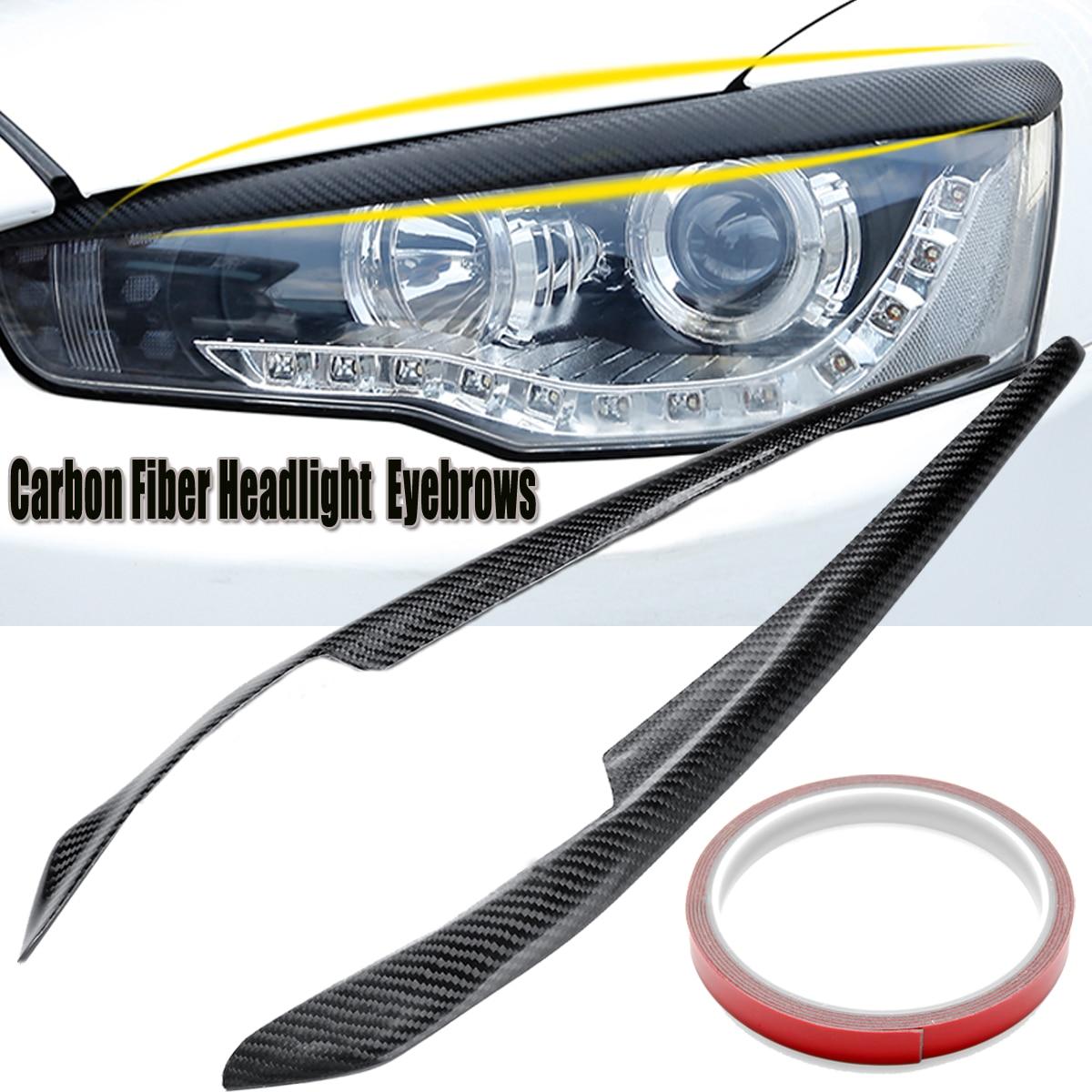 2pcs Car Headlight Eyelids Eyebrows Carbon Fiber Pattern for Mitsubishi Lancer EVO X 10 2008-2014 Car Styling 2001 2007 for mitsubishi lancer evolution evo 7 8 9 carbon fiber eyebrows eyelids headlight