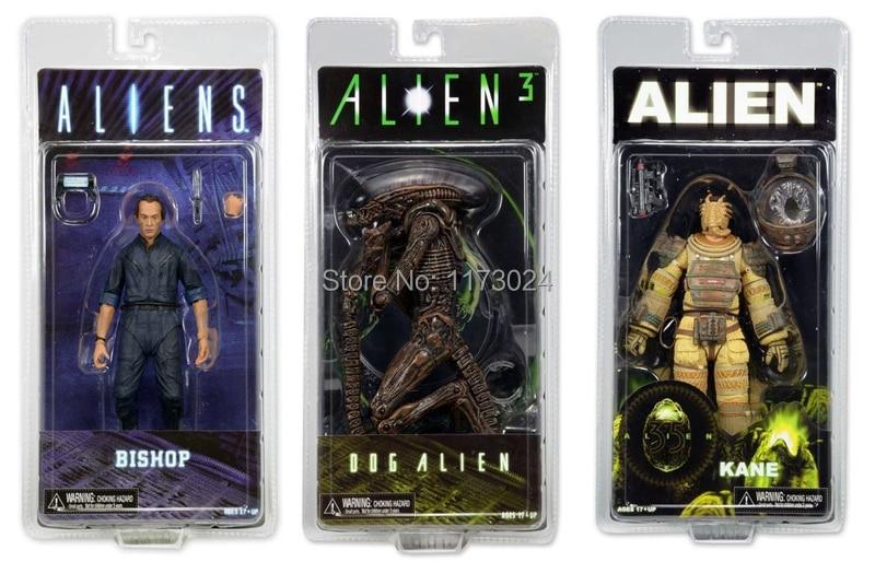 "New 3pcs Classic Sci-fi Movie <font><b>Aliens</b></font> <font><b>Series</b></font> 3 <font><b>Dog</b></font> <font><b>Alien</b></font> + Kane Space Suit + Bishop 7"" NECA <font><b>Action</b></font> <font><b>Figure</b></font> Toys Original Box"