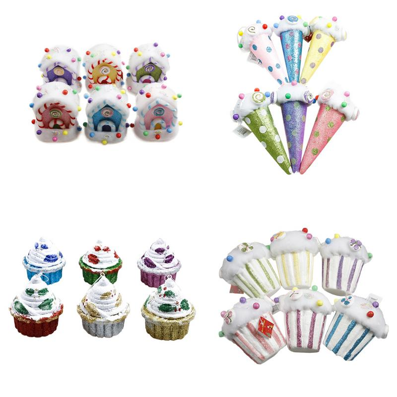 Christmas Decoration Colored Foam Candy House Pendant Ice Cream Cake Cup Christmas Tree Pendant Supplies