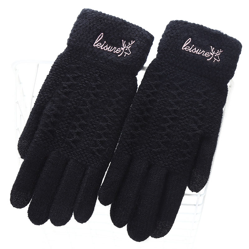 Ladies Fashion Winter Warm Cute Cartoon Finger Knit Touch Screen Gloves Women Full Finger Soft Mittens Black Gloves 18E