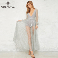 VEROVIVA Autumn Backless Maxi Dress Women Tulle Mesh Contrast Deep V Neck Sashes Vintage Dress Casual