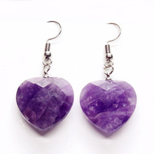 100-Unique 1 Pair Silver Plated Natural Purple Amethysts Love Heart Earrings For Women Valentine's Day Gift