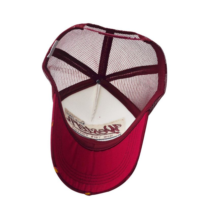 museourstyty Unisex Vintage Western Letters Embroidered Logo Patch Baseball Cap Breathable Mesh Back Casual Distressed Snapback Trucker Hat