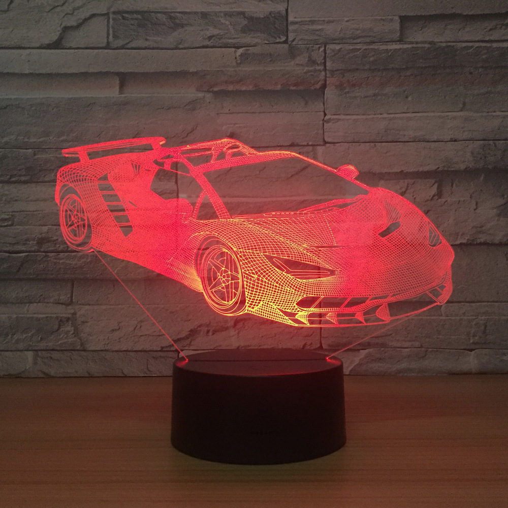 SportsCar 3d Lamp 7 Color LED Night Lamps For Kids Touch Led Usb Table Lampara Lampe Baby Sleeping Birthday Gift Drop Shipping