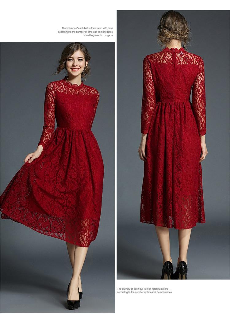 Robe La À Pour Solide Robes D'automne Lâche Bourgogne Femme Maxz Volants q6P6t7