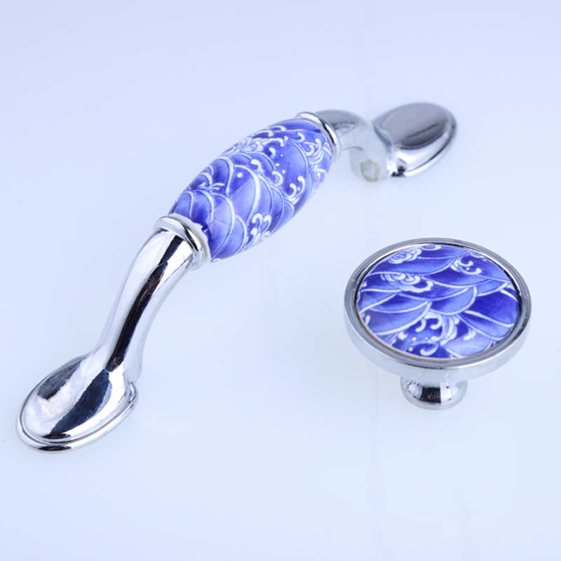76mm white and blue porcelain furniture handles 3 blue ceramic dresser kitchen cabinet handle silver watch tv table drawer knob