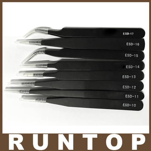 8pcs/lot Different size ESD Tweezers Tweezer