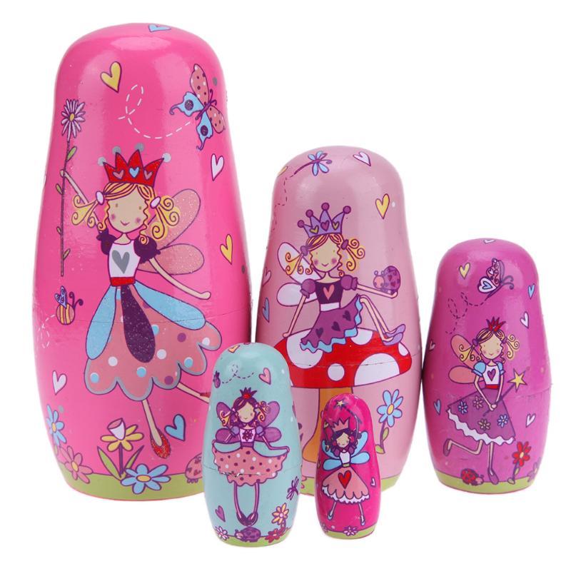 5 teile/satz Linde Russische Matryoshka Puppe Handgemachte Handwerk Rosa Engel Holz Nesting Russische Puppen Kinder Spielzeug Geburtstag Nettes Geschenk