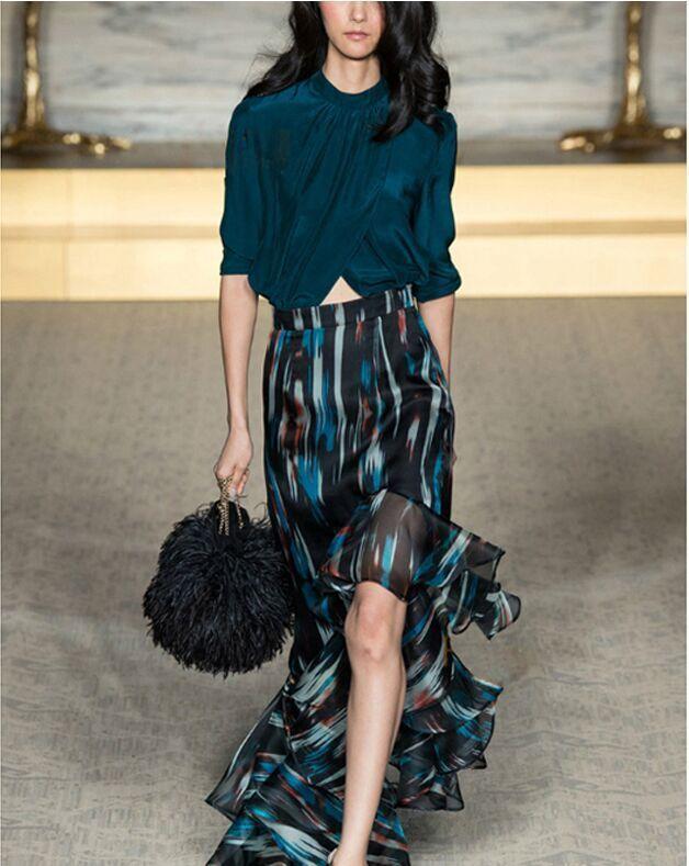 Free shipping 2015 spring new European fashion elegant fold jacket lotus leaf edge printing skirt font
