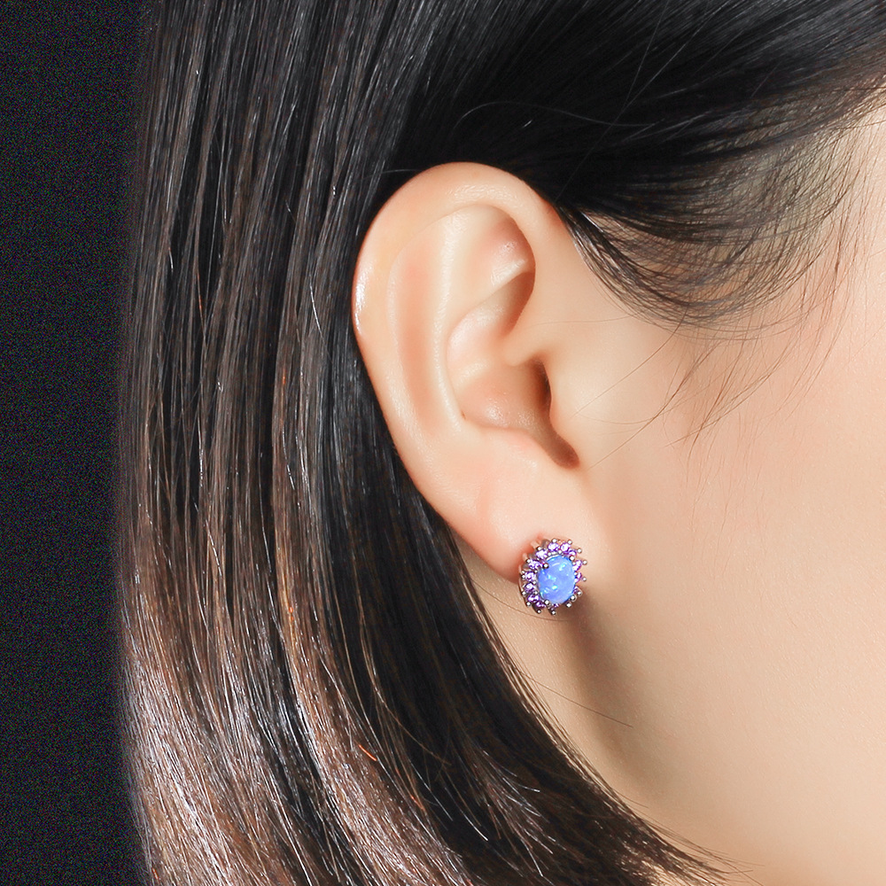 New high quality fashion silver earrings zircon S925 silver earrings for friends party and couple gifts