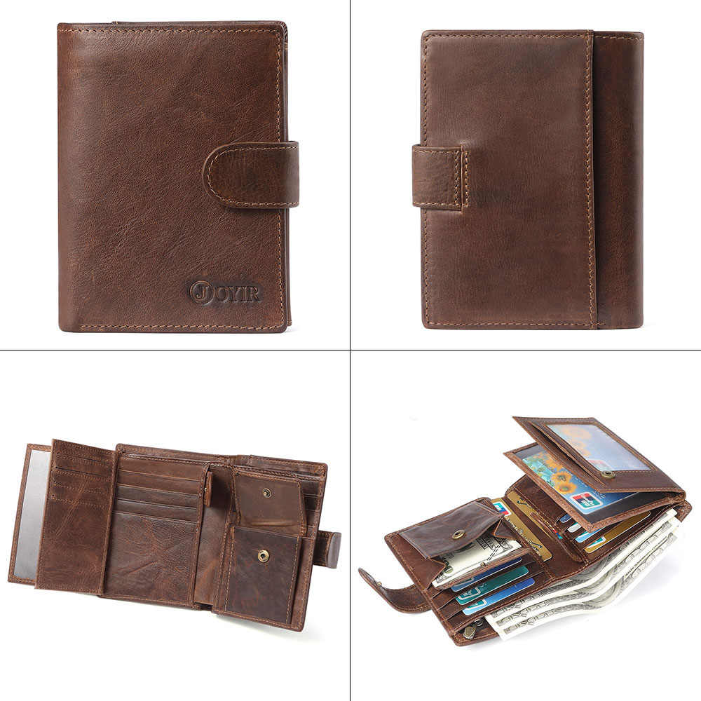 JOYIR известный мужской кошелек из натуральной кожи мужские кошельки мужские бумажники RFID визитница мужской кошелек маленький Perse Carteira Masculina