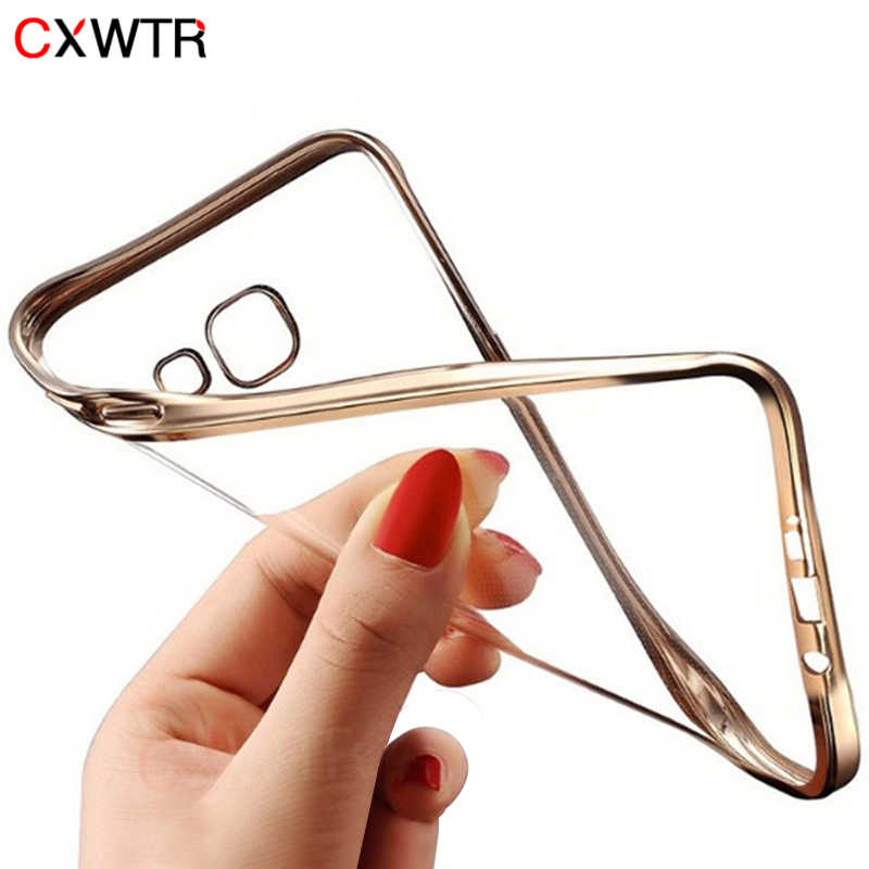 Luxury Plating Transparent Soft Phone Case For Samsung Galaxy S8 S7 S6 Edge Plus Back Cover For Samsung A3 A5 A7 2017 J3 J5 2016