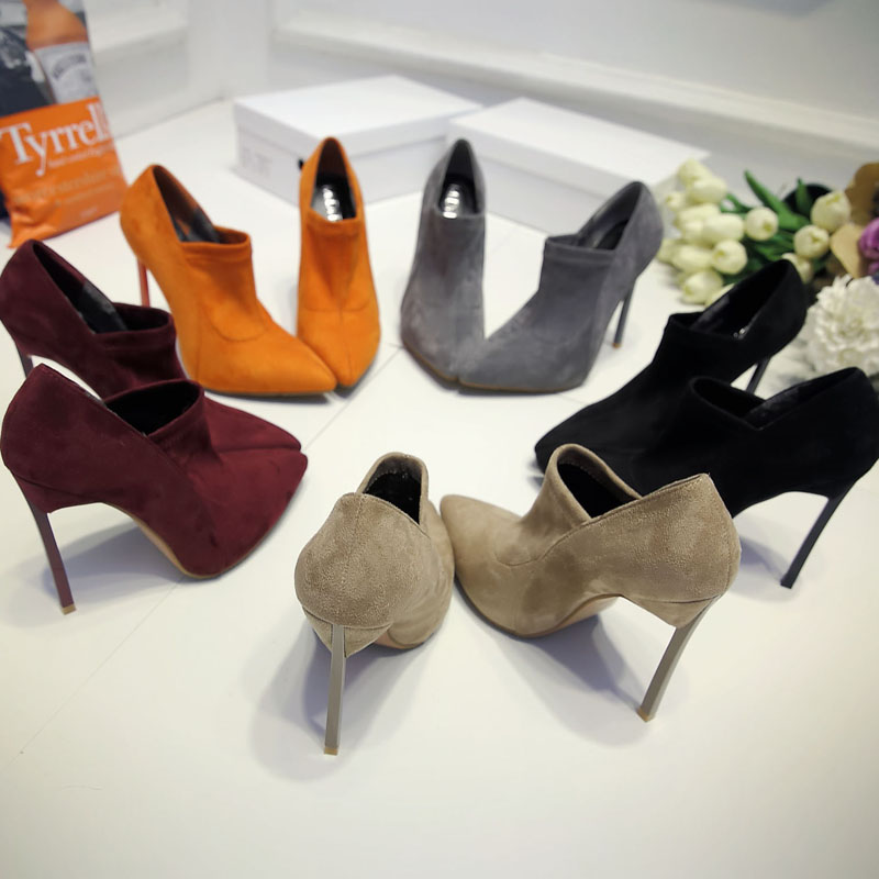 Autumn Winter Newest Pointed Toe Ankle Boots Nude Suede High Heels Shoe Thin heels Elastic Band Short boot for woman black grey smonsdle 2018 new woman ankle boots shoes side zip thin high heels pointed toe kid suede boots designer woman autumn winter boot