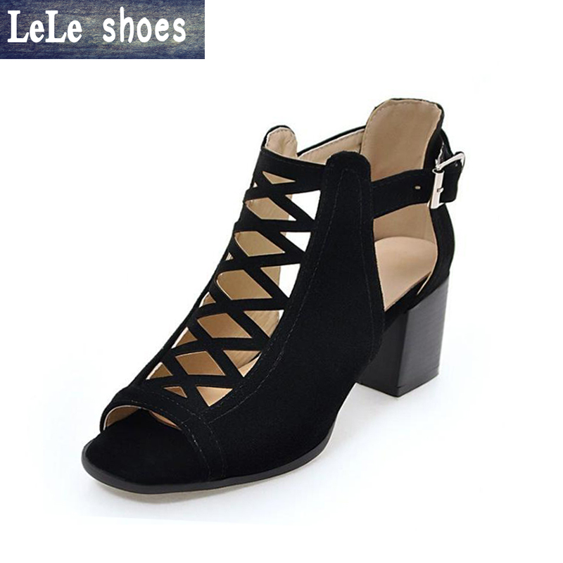 LELE 2017 New Brand Women Pumps Ladies High Heels Shoes 6.5cm Heels Plus Size 43 Fashion Party Female Rome Shoes Spring Autumn new 2017 spring summer women shoes pointed toe high quality brand fashion womens flats ladies plus size 41 sweet flock t179