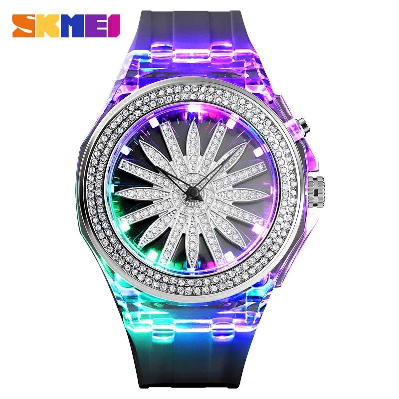 SKMEI Fashion Flower Dial Women Quartz Watch LED Back Light 5Bar Waterproof Female Ladies Wristwatches Relogio Feminino 1536