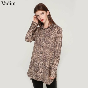 Vadim women basic leopard print long blouse long sleeve turn down collar shirts female office wear casual tops blusas LA215