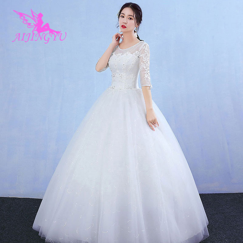 AIJINGYU 2018 girl free shipping new hot selling cheap ball gown lace up back formal bride dresses wedding dress WK260