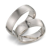 Simple Plain Handmade White Gold Plating Titanium Stainless Steel Mens And Womens Engagement Wedding Bands Couples