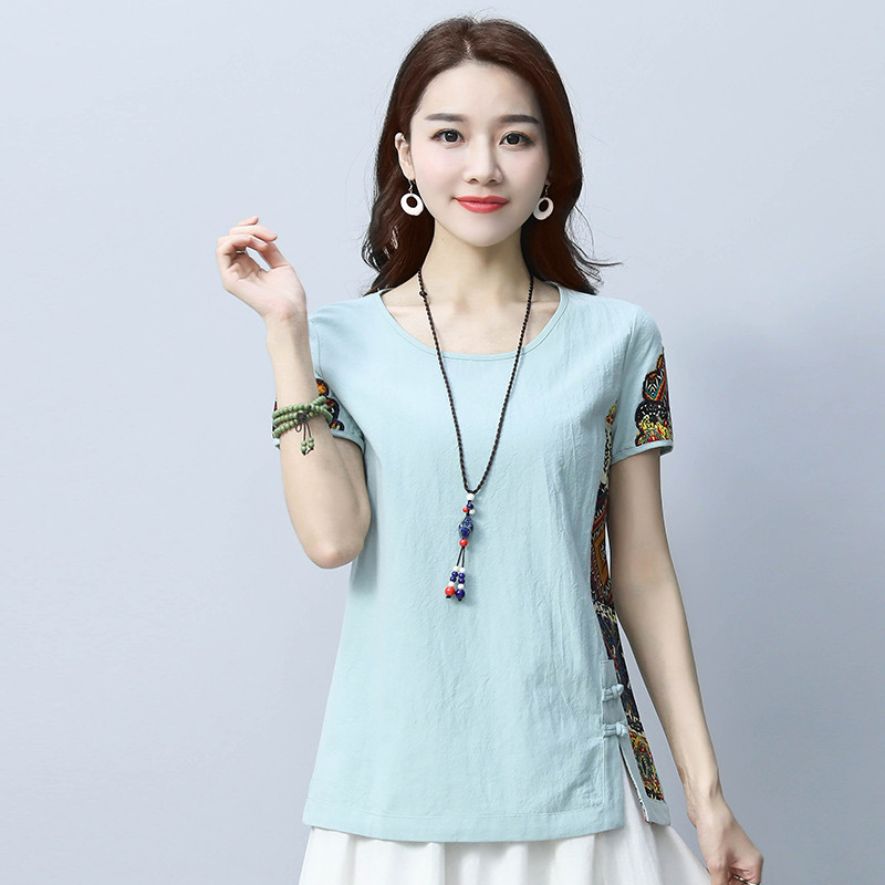 Cotton and Linen Women's 2018 Summer Shirt Loose Short Sleeve Chinese Style Patchwork O Neck Shirt Printed M-3XL 3
