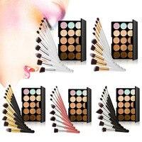 15 Colors Contour Face Cream Makeup Concealer Palette 10pcs Professional Goat Hair Brushes GUB