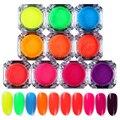 10 Boxes Neon Phosphor Pigment Powder 2g Glitter Powder Manicure Nail Art Decoration 10 Colors
