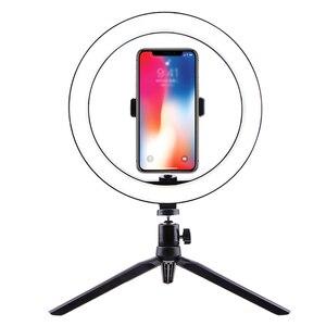 Image 5 - צילום איפור מנורת מראה LED Selfie אור 260MM Dimmable איפור מצלמה טלפון מנורת עם שולחן חצובות טלפון בעל stand