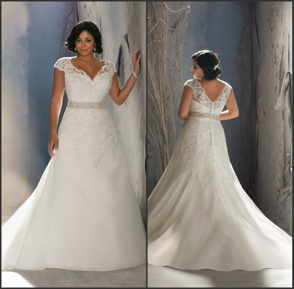 Stunning beading lace a line short sleeve plus size for Long sleeve plus size wedding dress