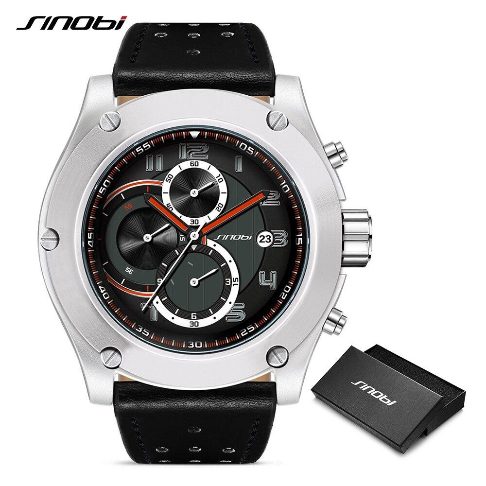 SINOBI Brand Sport Men Watch Luxury Male Leather Waterproof Chronograph Quartz Clock Military Wrist Watch Men Clock Saat Gift