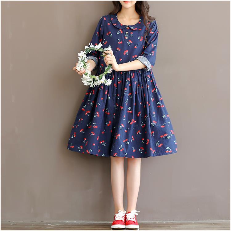 a67299048 2017 nueva primavera moda mujeres ropa más tamaño de la mujer vestido de  cereza Impresión de algodón de manga larga vestidos sueltos