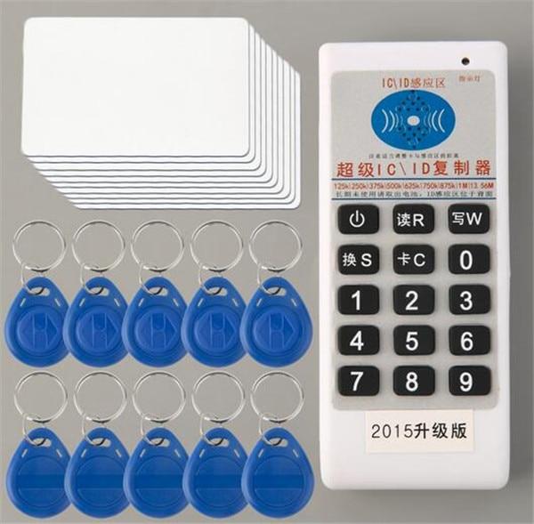13.56 mhz 125 khz clé duplicateur de poche carte d'accès rfid copieur clone + 10 pcs cartes UID et 10 pcs EM4305 rfid télécommandes