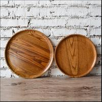 Diameter 30cm Round Original Wooden Serving Trays Bandeja Decorativa Tea Tray Wood Food Tray For Cutlery