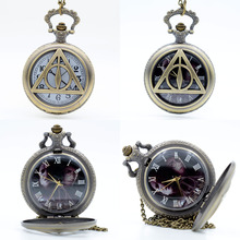 Bronze Harry Potter and the Deathly Hallows Character Dial Quartz Pocket Watch Analog Pendant Necklace Mens Womens Watches Gift(China (Mainland))