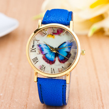 Fashion Butterfly Printed Leather Geneva Quartz Watches Women Rome Digital Retro Dress Wrist Watch Relogio Feminino