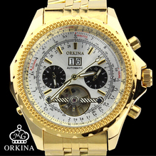 man watch blackcat Orkina Automatic Mechanical Gold Wrist Watches Stainless Steel Large Dial Tourbillon Watch Male